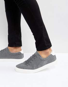 Asos Lace Up Sneakers In Gray Jersey Marl