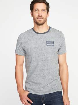 Old Navy Heathered Flag-Patch Crew-Neck Tee for Men