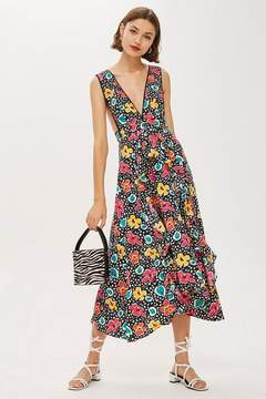 80s Floral Pinafore Dress