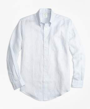 Brooks Brothers Milano Fit Stripe Irish Linen Sport Shirt