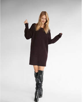 Express bateau neck balloon sleeve sweater dress