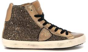 Philippe Model Classic High Sneakers In Leather Glitter And Taupe Leather