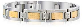 Armani Exchange Jewelry Mens Dia Bracelet In Stainless Steel And 18k Gold Accent (0.15cts, Hi I2-i3).