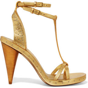 Burberry Studded Metallic Textured-leather Sandals - Gold