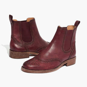 Madewell The Ivan Brogue Chelsea Boot in Dark Cabernet