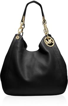 MICHAEL Michael Kors Large Fulton Shoulder Bag - BLACK/GOLD - STYLE