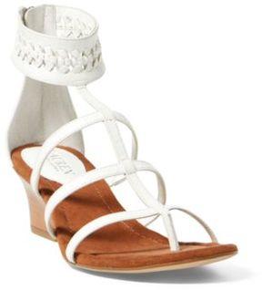 Ralph Lauren Meira Leather Wedge Sandal White 10