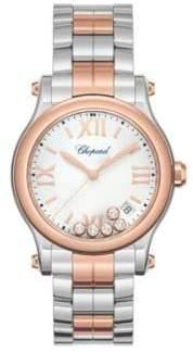 Chopard Happy Sport Diamond, 18K Rose Gold & Stainless Steel Bracelet Watch