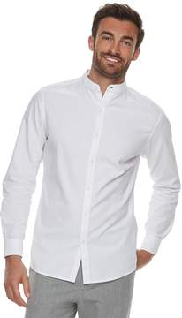 Marc Anthony Men's Slim-Fit Linen-Blend Band-Collar Button-Down Shirt