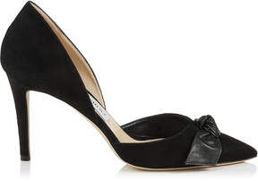 Jimmy Choo TWINKLE 85 Black Suede and Kid Leather Pointy Toe Pumps
