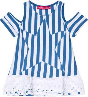 Agatha Ruiz De La Prada Blue And White Star Print Striped Dress