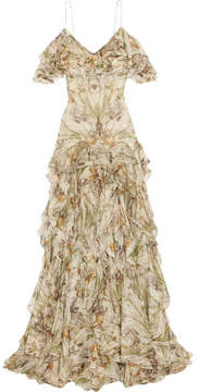 Alexander McQueen Cold-shoulder Ruffled Floral-print Silk-crepon Gown - Ivory
