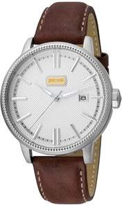 Just Cavalli Mens Brown Leather Strap Watch With Silver Dial.