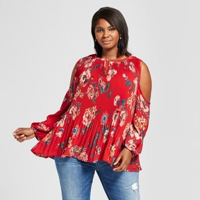 Ava & Viv Women's Plus Size Pleated Cold Shoulder Top Red Floral