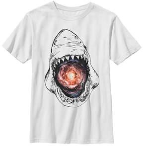 Fifth Sun White Galaxy Shark Crewneck Tee - Boys