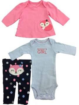 Carter's Infant Toddler Girls Pink Fox Shirt Blue White Bodysuit & Leggings 3-PC Outfit