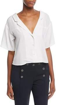 A.L.C. Arto V-Neck Button-Front Silk Top