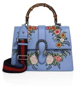 Gucci Dionysus Embroidered Leather Top-Handle Bag - BLUE - STYLE