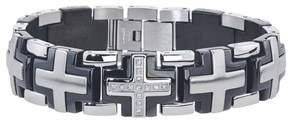 Armani Exchange Jewelry Mens Solid Cross Diamond Bracelet In Stainless Steel (0.20 Carats. H-i I3).