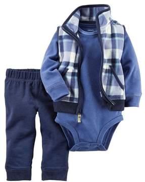 Carter's Boys Baby 3 Piece Playwear Pant Set Blue Plaid Vest Newborn