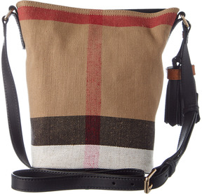 Burberry Ashby Small Canvas Check & Leather Bucket Bag - BEIGE - STYLE