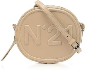 N°21 Beige Leather Oval Crossbody Bag w/Embossed Logo