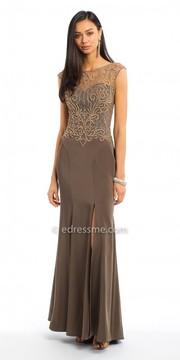 Camille La Vie Swirl Beaded Cap Sleeve Jersey Evening Dress