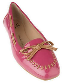 Isaac Mizrahi Live! Patent Leather Moccasinswith Bow Detail