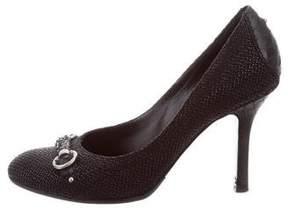 Christian Dior Raffia Python-Accented Pumps