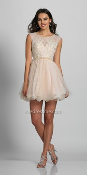 Dave and Johnny Pearl and Rhinestone Encrusted Lace Fit and Flare Homecoming Dress