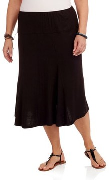 24/7 Comfort Apparel Plus Size Women's Calf-Length Skirt