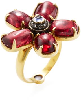 Amrapali Women's 18K Yellow Gold, Tanzanite, Spinel & 0.20 Total Ct. Diamond Flower Ring