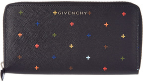 Givenchy Cross Embellished Zip Around Canvas Wallet