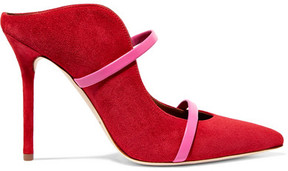 Malone Souliers Maureen Leather-trimmed Suede Mules - Red