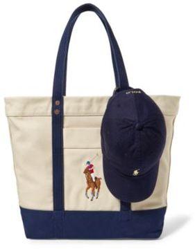 Ralph Lauren Tote & Baseball Cap Gift Set Natural/Navy One Size