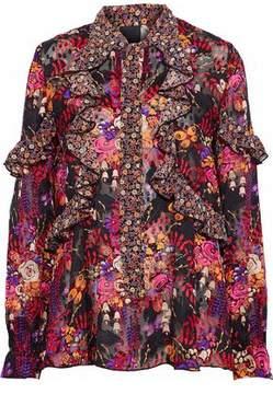 Anna Sui Ruffled Floral-Print Silk-Jacquard Blouse
