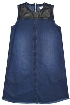 Tractr Girl's Faux Leather Yoke Denim Dress