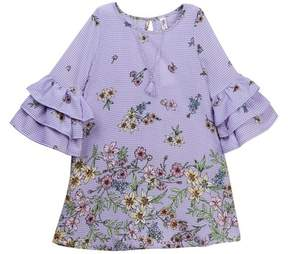 Beautees Ruffle Sleeve Floral Dress with Necklace (Big Girls)