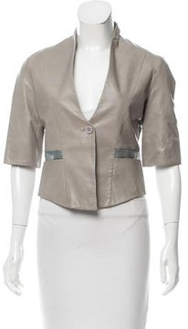 Emporio Armani Fitted Leather Blazer w/ Tags