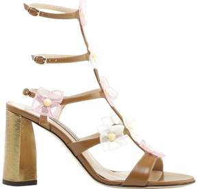 Zac Posen Claire Organza Flower Leather Heeled Sandal (Women's)