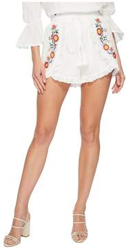J.o.a. Embroidered Shorts with Waist Tie Women's Shorts