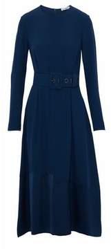 Jil Sander Belted Satin Crepe-Paneled Crepe Midi Dress