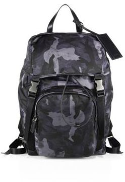 Prada Technical Fabric & Leather Trimmed Backpack