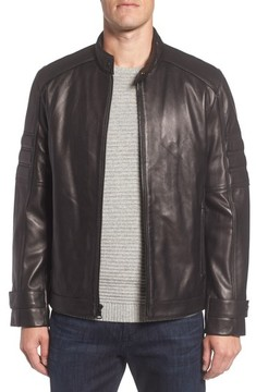 Andrew Marc Men's Tuers Lambskin Leather Moto Jacket