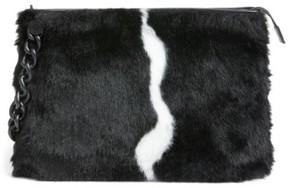 KENDALL + KYLIE Corey Faux Fur Clutch - Black