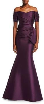 Badgley Mischka Off-the-Shoulder Bow-Back Ruched Satin Evening Gown
