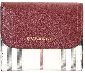 Burberry Leather & Check House Fabric Wallet - BURGUNDY - STYLE