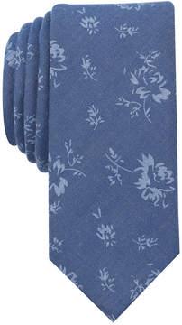 Bar III Men's Denim Wildflower Print Skinny Tie, Created for Macy's