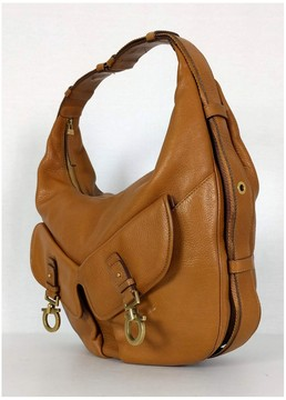 Salvatore Ferragamo Vintage Tan Gancini Hobo Bag