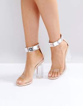 Public Desire Spirit Clear Strap Embellished Heeled Sandals